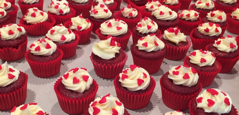 miniature red velvet cupcakes